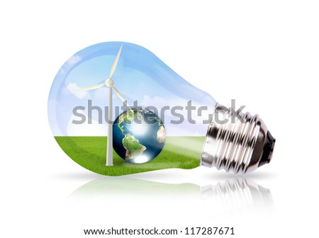 Light bulb with wind turbine and earth inside (Elements of this image furnished by NASA) - stock photo