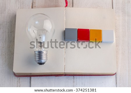 light bulb with word block :Business vision concept.jpg - stock photo