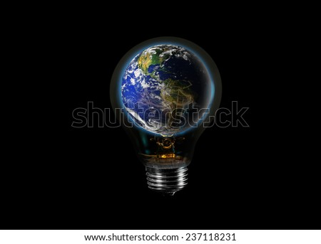"""Light bulb with world inside isolated on black""""Elements of this image furnished by NASA """"  - stock photo"""