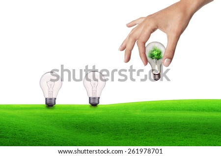 Light bulbs and human hand metaphor to nature, ecology, green, energy, natural, life, world, global, protect or environmental - stock photo