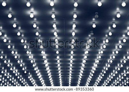 Light bulbs. Close up image of Chicago theater entrance ceiling made with light bulbs.