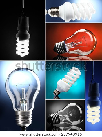 Light bulbs collage - stock photo