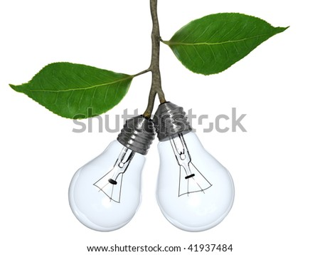 Light bulbs grow as if fruit from a tree. - stock photo