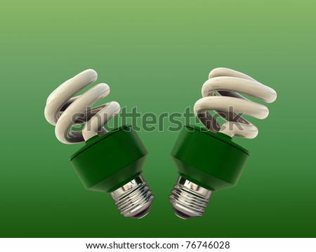 light bulbs isolated on green background