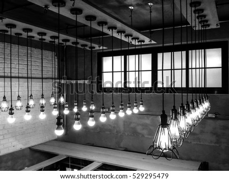Light bulbs on vintage gray background
