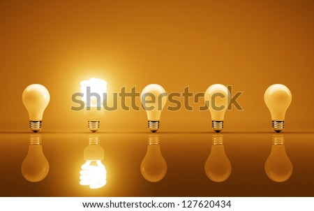 light bulbs on yellow background