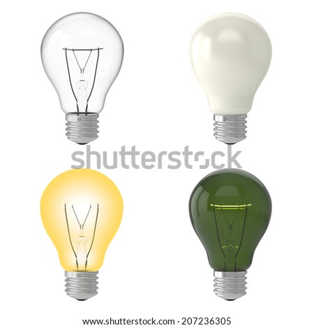 light bulbs realistic set clear, light on, milky, green, Isolated on White Background.Easy editable for your design.  - stock photo