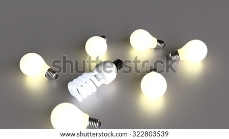 light bulbs representing ideas. energy saving light bulb smarter and more efficient ideas - stock photo