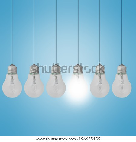Light bulbs - the concept of unique, different
