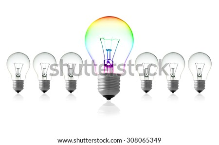 light bulbs : turn on big light bulbs in front of turn off bulbs in row, Big idea concept, Bright Creative, Think different and leadership concept