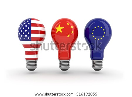 light bulbs with American flag, chinese flag and euro flag, the majors consumers of energy in the world, 3d illustration