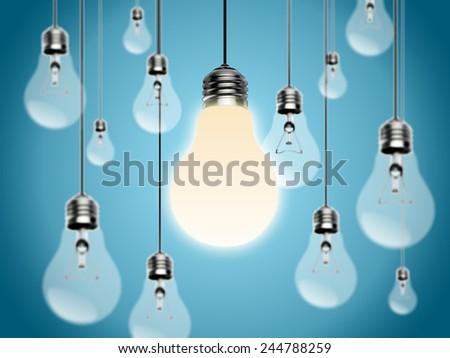 Light bulbs with Idea concept on a blue background