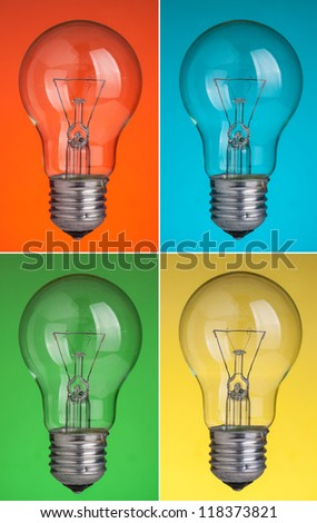 light bulbs with various color background - stock photo