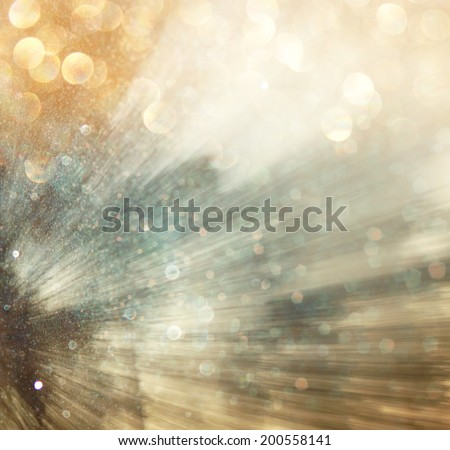 light burst among trees, blurred background with movment. abstract.  - stock photo