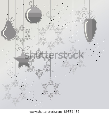Light Christmas background with contour balls and snowflakes. Raster version. - stock photo