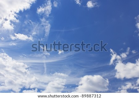 Light clouds of various types on the background of a blue sky - stock photo