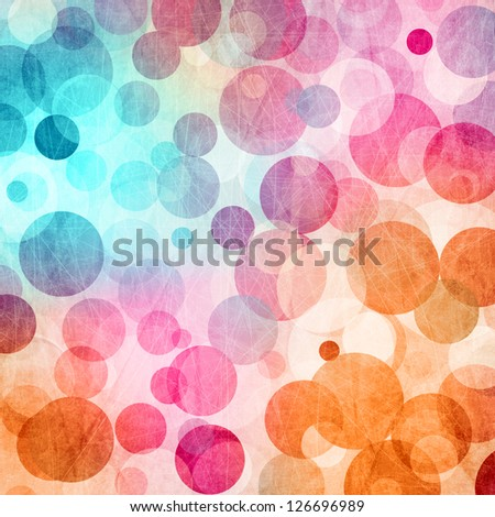 Light Colored Blue-  Pink - Orange Abstract Circles  Background - stock photo