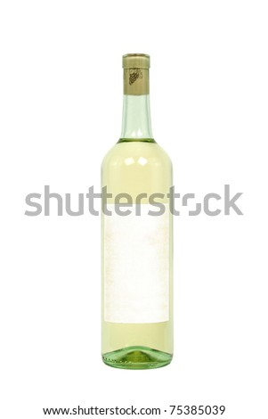 Light Colored Bottle of Wine with Blank Label Isolated on a White Background