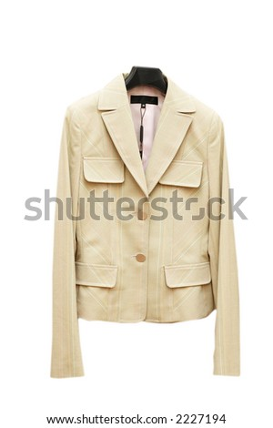 Light coloured jacket on hanger isolated on white - stock photo