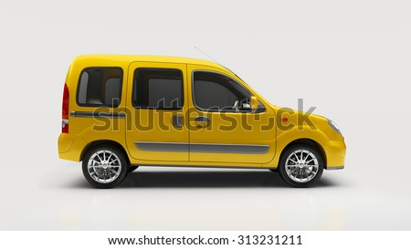 Light commercial small van (escort van) in studio - stock photo