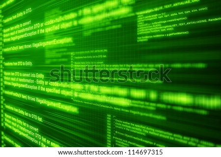 Light computer code on Green screen with layers and depth - stock photo