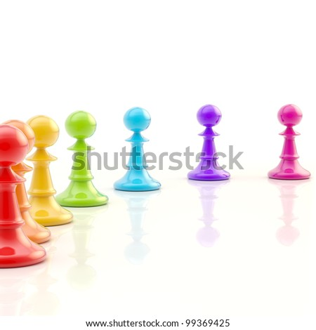 Light copyspace chess background made of rainbow colored chess pawns on a glossy white floor - stock photo