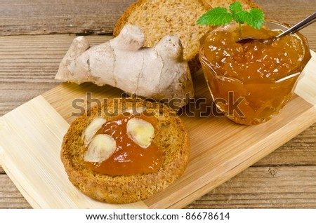Light culinary rusk with apricot jam and ginger