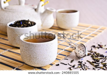 Light Cup Chinese type liquid tea on a wooden surface - stock photo