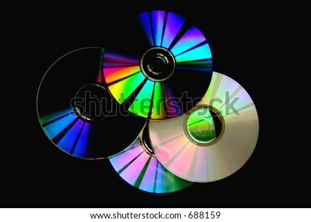 light effects in the surface cd´s - stock photo