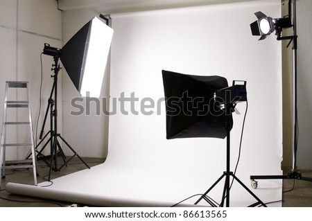 light equipment in the photography studio - stock photo