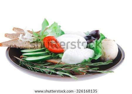 light feta cheese with mushroom and bread - stock photo