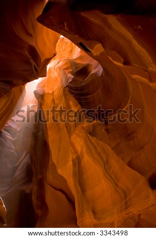 Light filtering down in a slot canyon