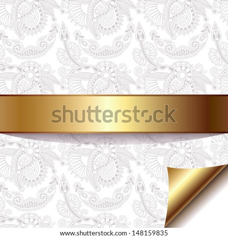 light floral background with gold ribbon, raster version - stock photo