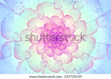 Light fractal flower. Cover design template layout for corporate business card, book, booklet, brochure, flyer, poster, banner. Fractal artwork for creative design.