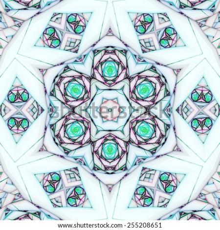 Light fractal mandala, digital artwork for creative graphic design - stock photo
