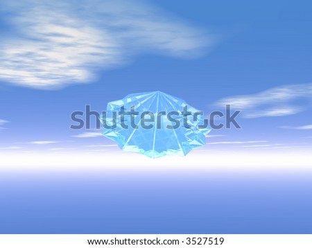 Light from gemstone against a blue sky