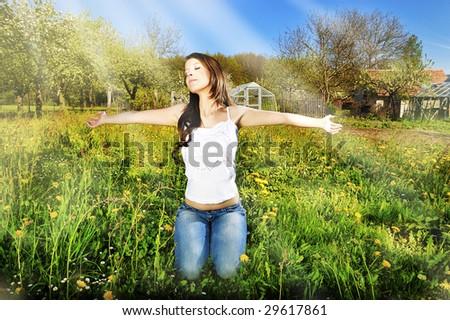 Light from heaven/Prayer in garden - stock photo