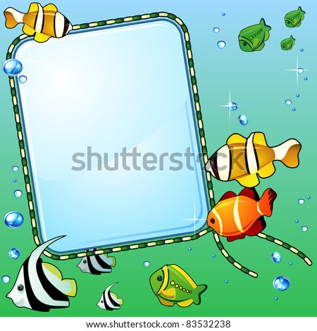 Light glass background, bright colorful fish and bubbles