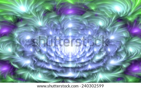 Light glowing blue,purple,cyan,green abstract soft and silky fractal flower in high resolution with a detailed soft smooth petals and against dark background  - stock photo
