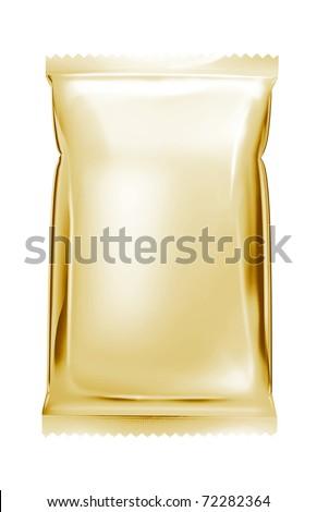 light gold aluminum foil bag package - stock photo