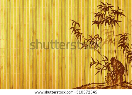 Light Golden bamboo Background great for any project. frame of bamboo-leaves background.