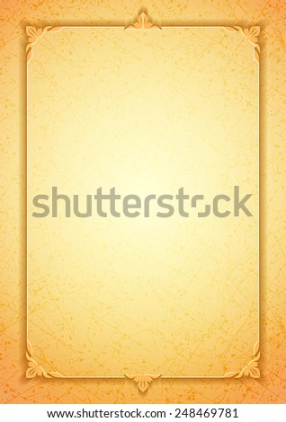 Light golden classic premium plaque with a marble texture, vintage decorative elements and frame with space for name and congratulatory text - stock photo