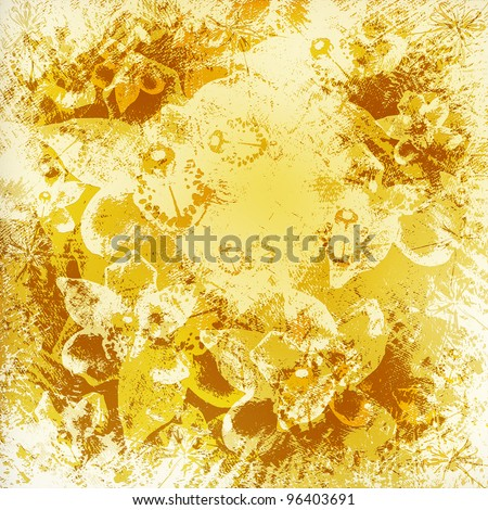 Light golden watercolor brush strokes with floral ornamental background - stock photo