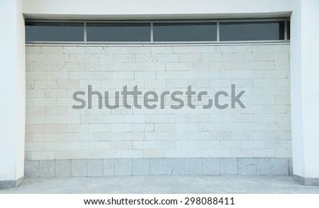 light gray brick wall outdoor, horizontal format - stock photo
