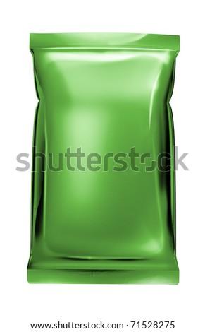 light green aluminum foil bag package - stock photo