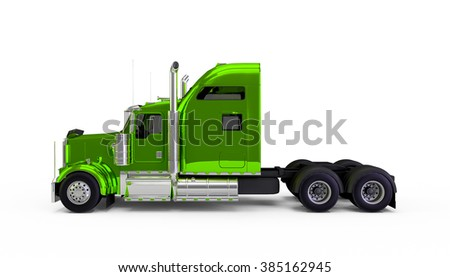 Light green american truck isolated on white background