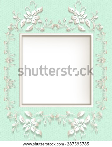 Light green background with floral decoration and ornamental frame with place for text . - stock photo