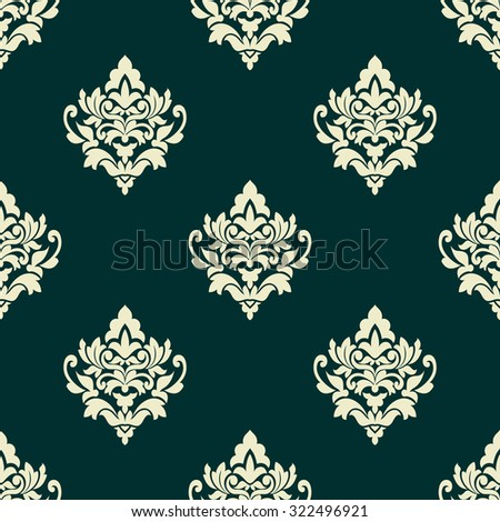 Light green floral seamless pattern in damask style on dark turquoise background for wallpaper, tile and fabric design - stock photo