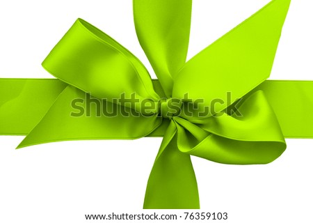 light green gift ribbon with bow isolated on white background - stock photo