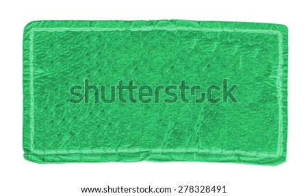 light green leather label isolated on white background - stock photo
